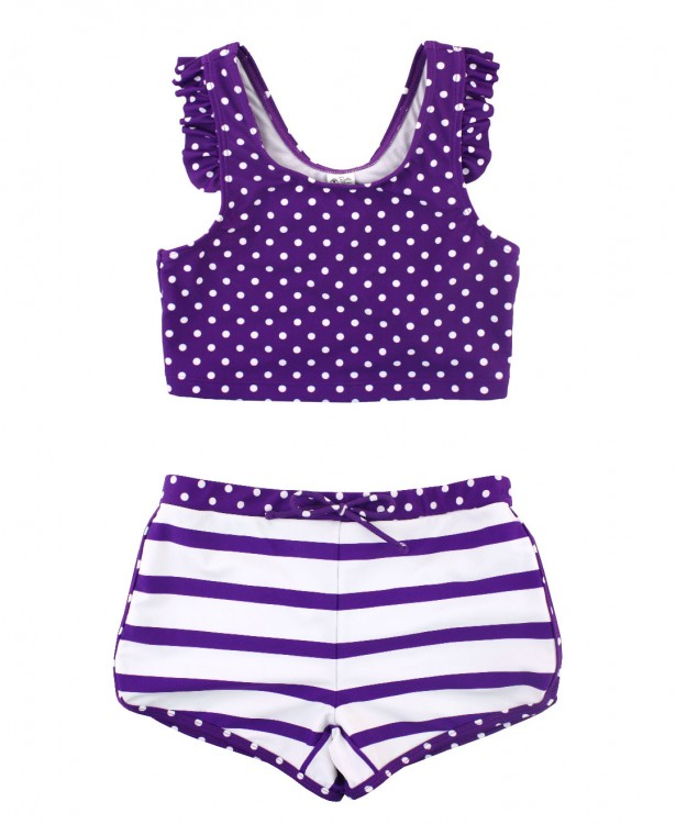 Grape Polka Dot Ruffled Short Set Bikini - Through my baby's eyes