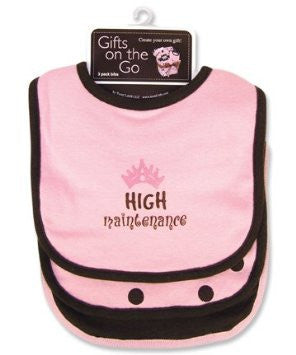 """High Maintenance"" 3-Pack Bib - Pink/Brown - Through my baby's eyes"
