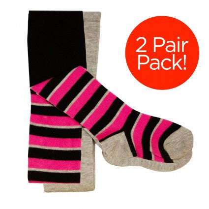 2 Pair Pack Pink & Black Striped Tights