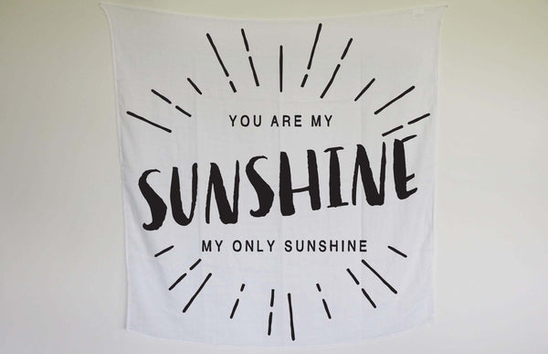 Organic Cotton Muslin Swaddle Blanket - You are my sunshine - Through my baby's eyes
