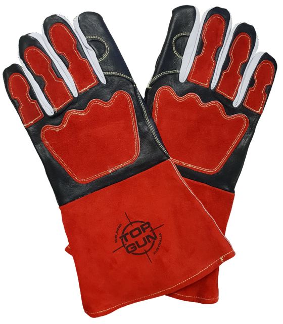 Topgun Premium Red & Black Welding Gloves TGACGBRP