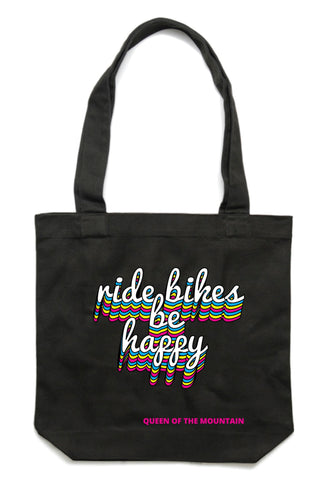 RIDE BIKES BE HAPPY tote (black)