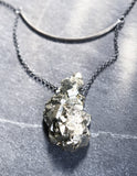 Pyrite Pendant // Oxidized Sterling Silver