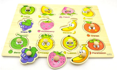 Wooden Fruity Faces Peg Puzzle