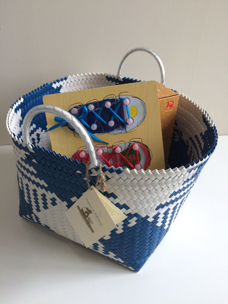 Penan Storage Basket - Blue and White Squares - PICK UP ONLY