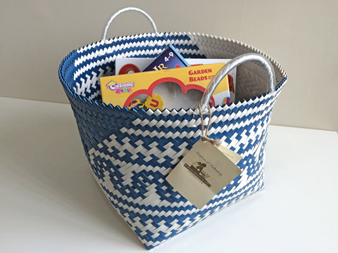 Penan Storage Basket - Blue and White Patterned - PICK UP ONLY