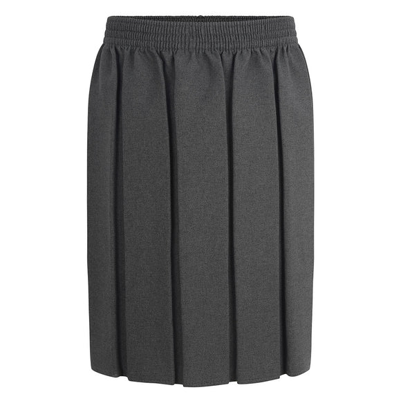 Grey Fully Elasticated Box Pleat Skirt - NON IRON