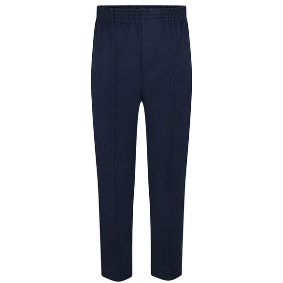 Navy Boys Fully Elasticated Pull Up Trousers
