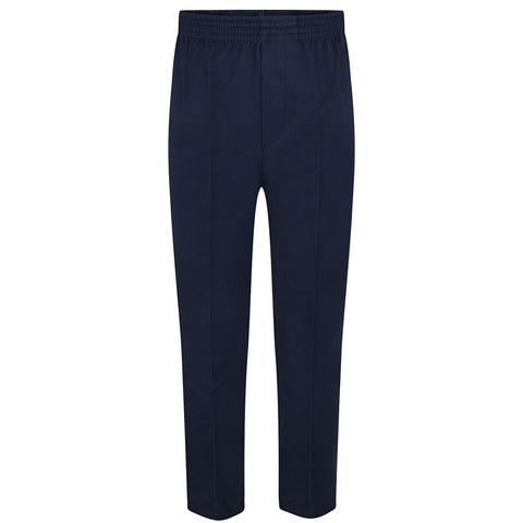 Navy Boys Fully Elasticated Pull Up Trousers (up to age 7-8)