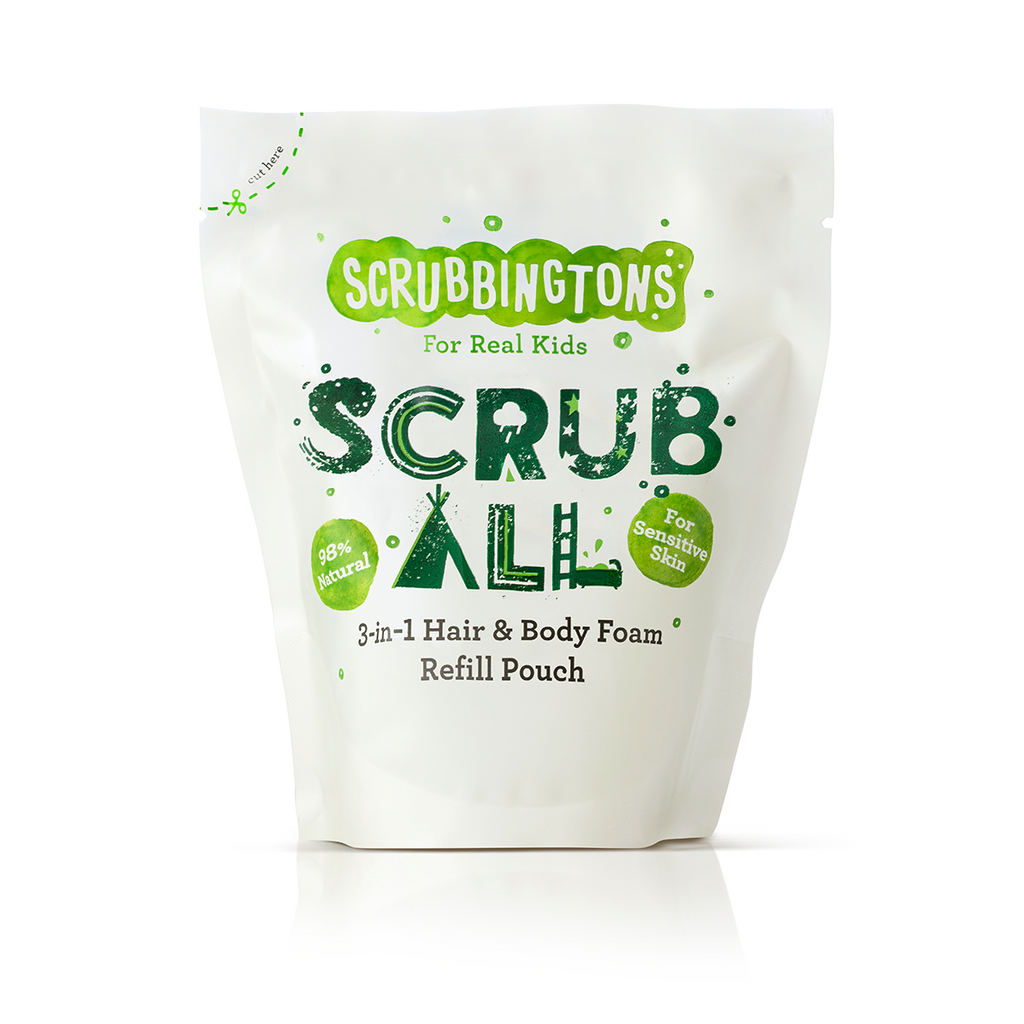 A Case of 6 Scrubbingtons 3 in 1 Shampoo, Conditioner & Body Wash Foam Refill Pouches, 200ml