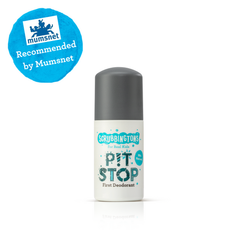 Scrubbingtons Pit Stop - First Deodorant for Kids with 'Recommended by Mumsnet' banner