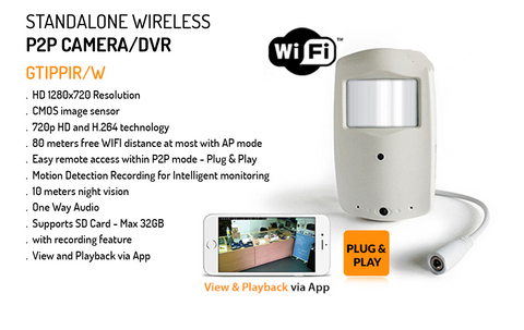 Standalone Wireless P2P Covert Camera/DVR, hidden in Alarm PIR