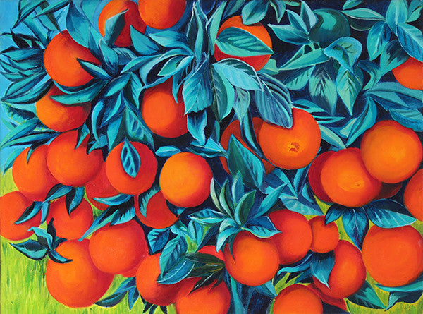 Oranges painting individual blank greeting card