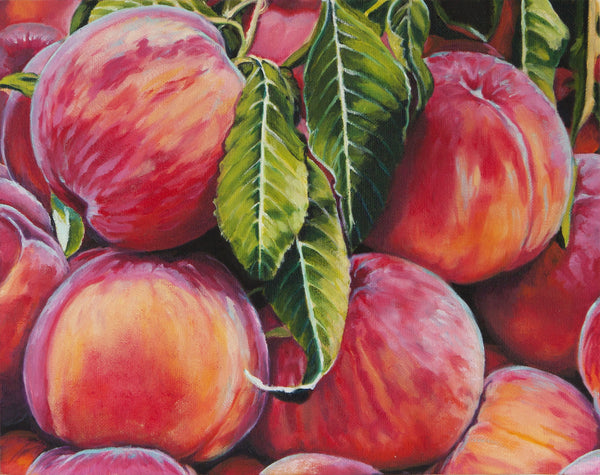 Peaches painting individual blank greeting card