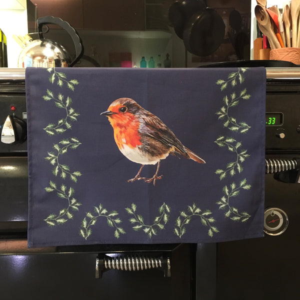 Artypants Christmas Tea Towel Robin and Holly
