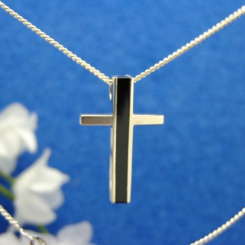 Stripe cross pendant
