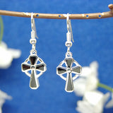 Inlay cross earrings