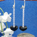 Jet heart drop earrings 1