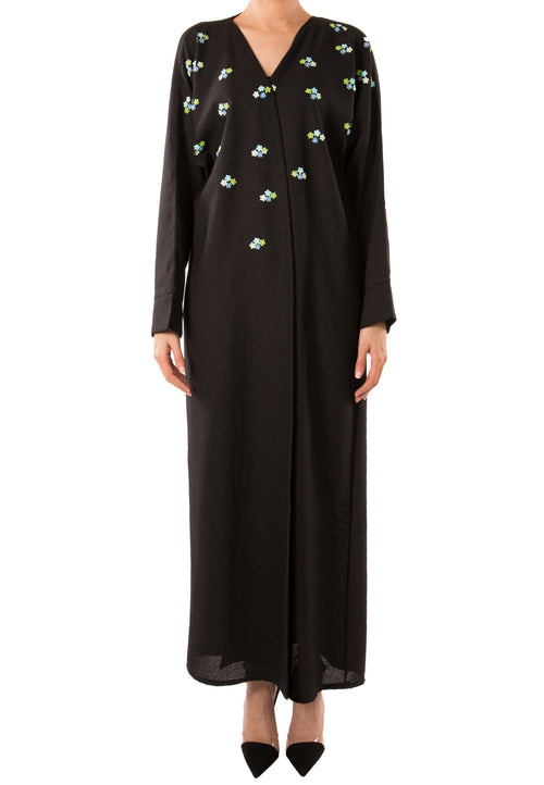 Beaded Bloom Pastel Abaya - dukkanmeem  - 2