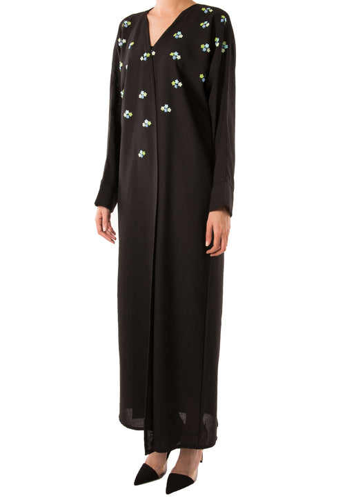 Beaded Bloom Pastel Abaya - dukkanmeem  - 1
