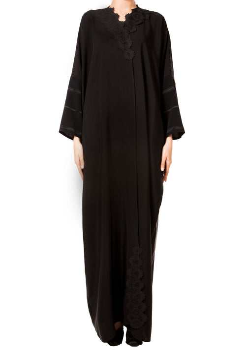 Black on Black Abaya - dukkanmeem  - 2