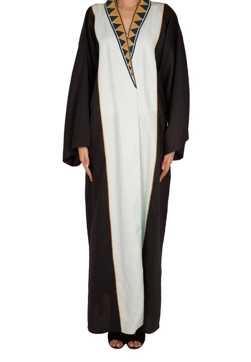 Triangle Embo Collar Abaya - dukkanmeem  - 2