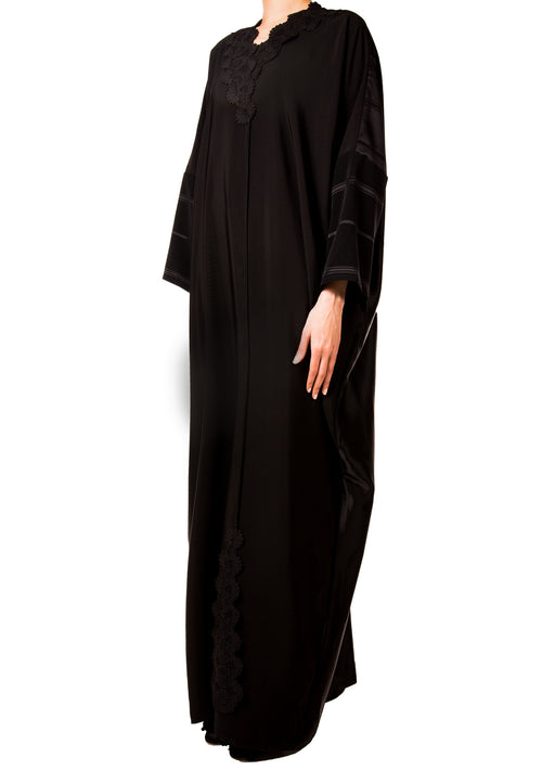 Black on Black Abaya - dukkanmeem  - 1