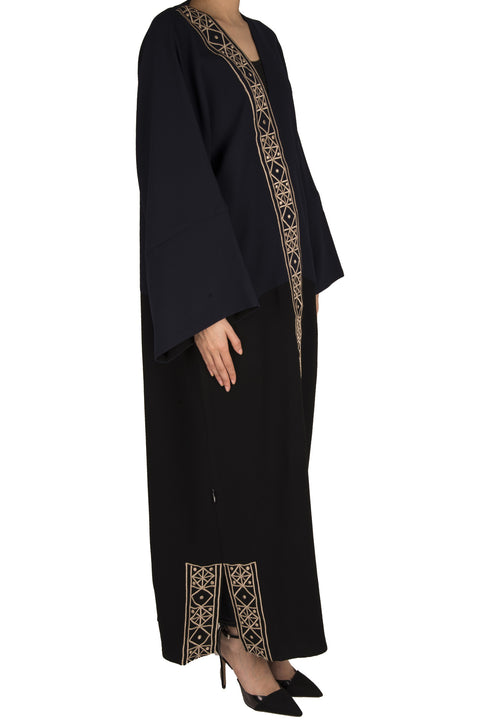 Side Embroidery Abaya - dukkanmeem  - 1