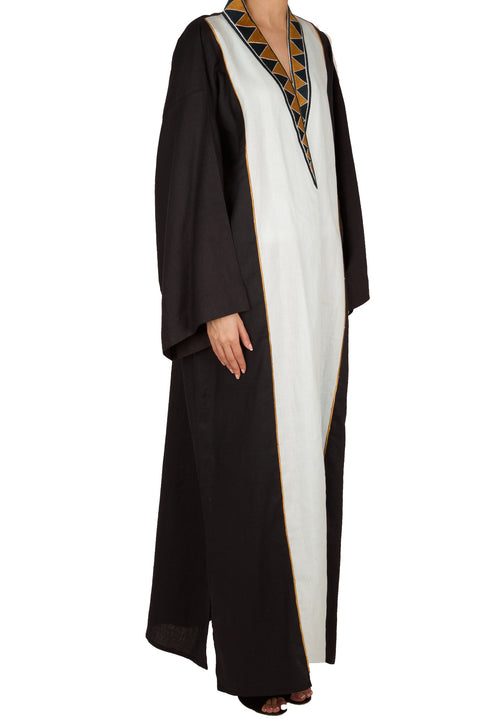 Triangle Embo Collar Abaya - dukkanmeem  - 1