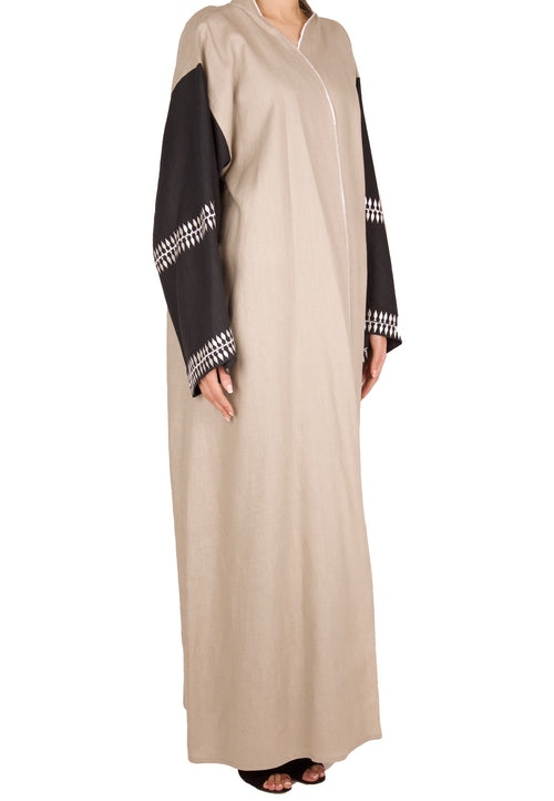 Charcoal Embroidery Sleeve Abaya - dukkanmeem  - 1