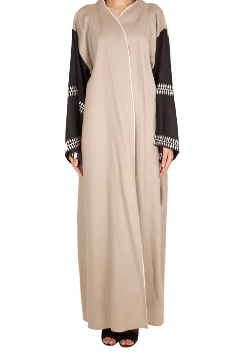 Charcoal Embroidery Sleeve Abaya - dukkanmeem  - 2