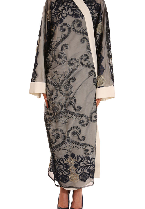Gold Navy Embroidery Abaya - dukkanmeem  - 2