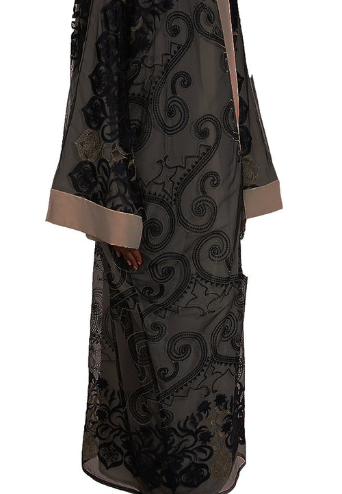 Gold Navy Embroidery Abaya - dukkanmeem  - 1