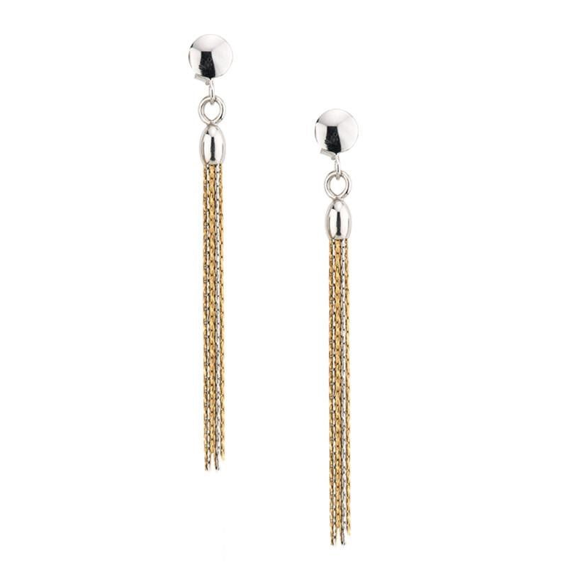 Sterling Silver & Gold Tassel Earrings by Frederic Duclos