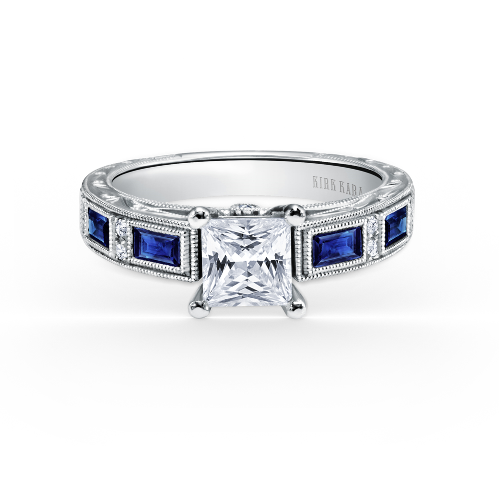 Diamond & Sapphire Engagement Ring by Kirk Kara.  Richter & Phillips Jewelers, Cincinnati OH