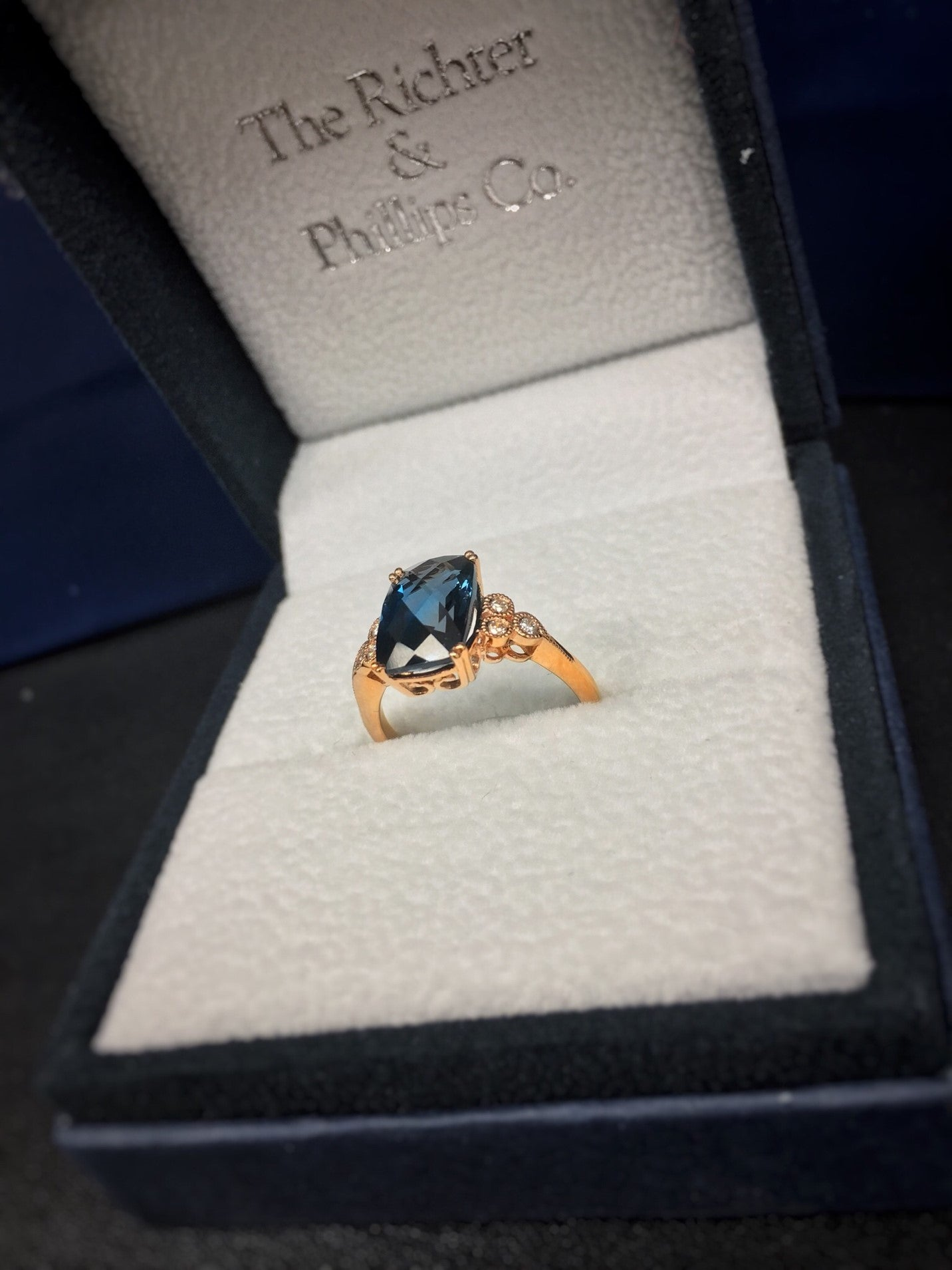rose gold london blue topaz and diamond ring