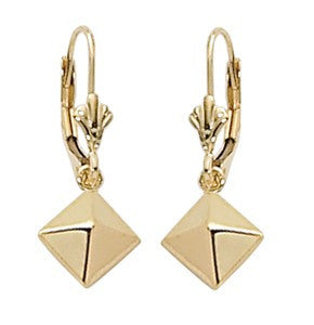 Yellow Gold 6mm Pyramid Drop Earrings