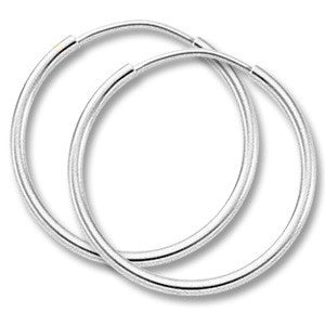 White Gold Endless Hoops