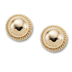 Yellow Gold 8mm button earrings