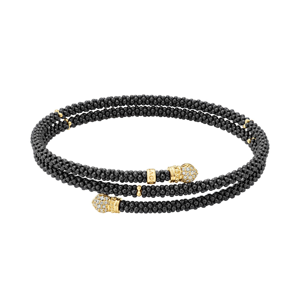 LAGOS GOLD & BLACK CAVIAR Gold Wrap Bracelet 05-10305-CBM Richter & Phillips Jewelers Cincinnati, OH