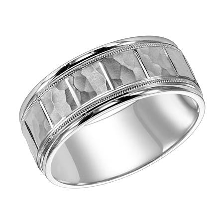 8.5mm white gold wedding band
