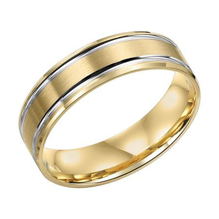 6mm two-tone wedding band