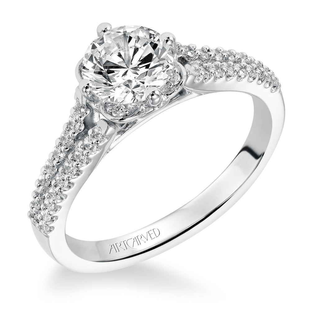 Diamond Two Row Design Engagement Ring
