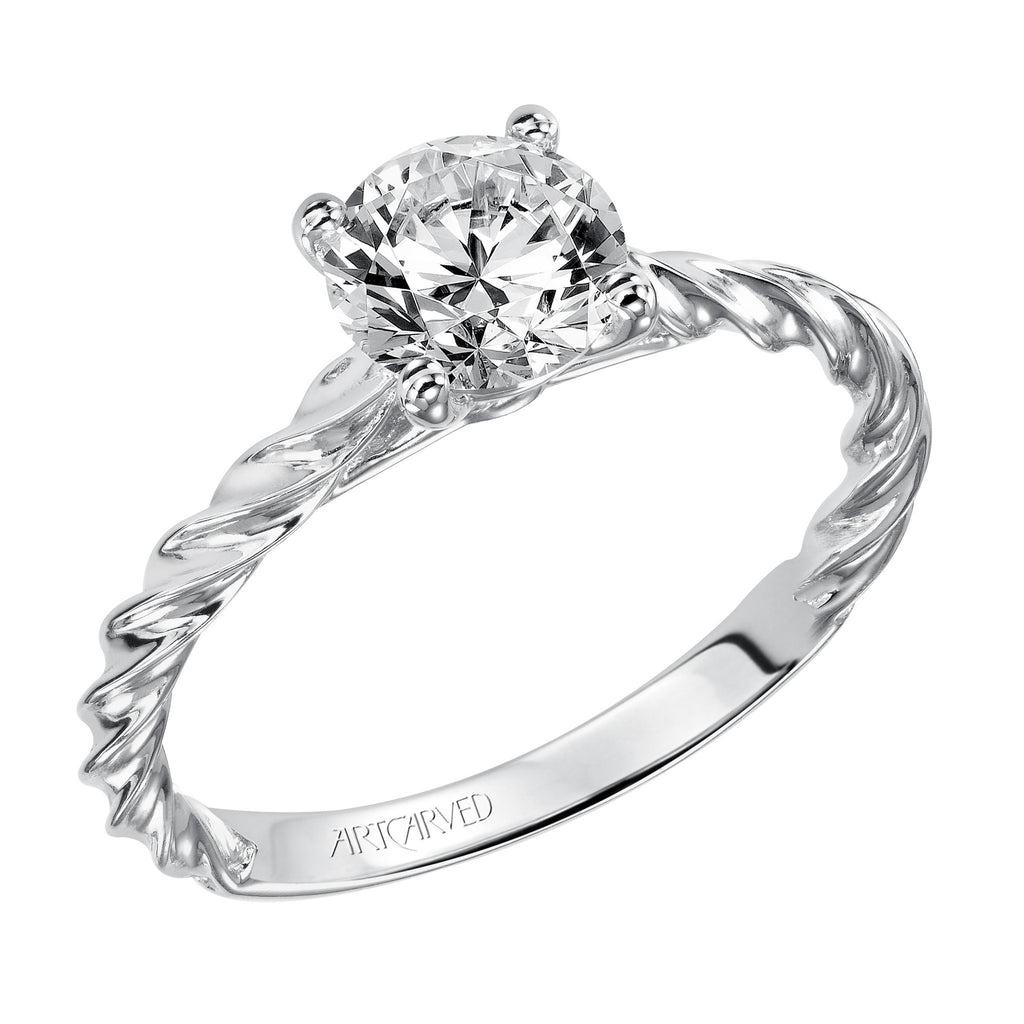 Rope Design Diamond Solitaire Engagement Ring