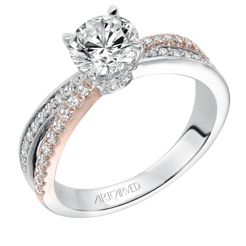 Two Tone Prong Set Diamond Engagement Ring
