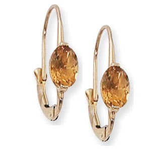 Yellow Gold Citrine Earrings