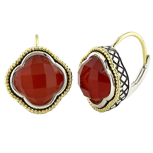 Sterling & 18K Red Agate Clover Earrings