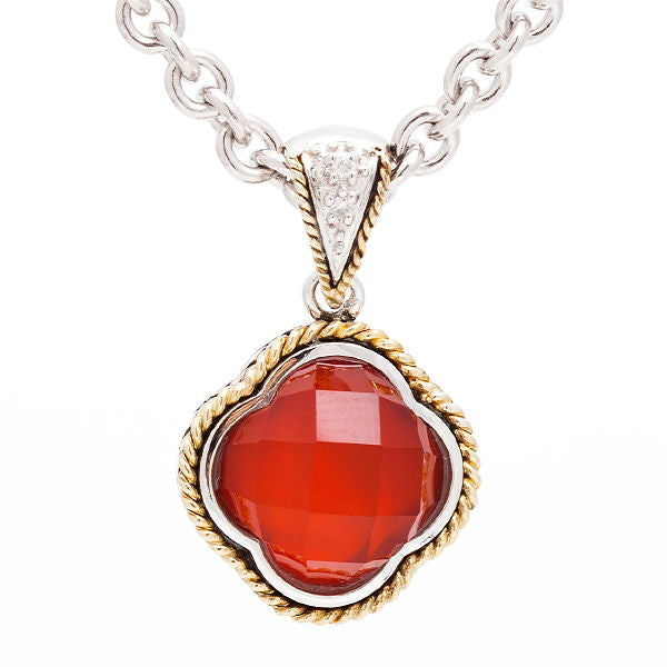 Sterling & 18K Red Agate Necklace