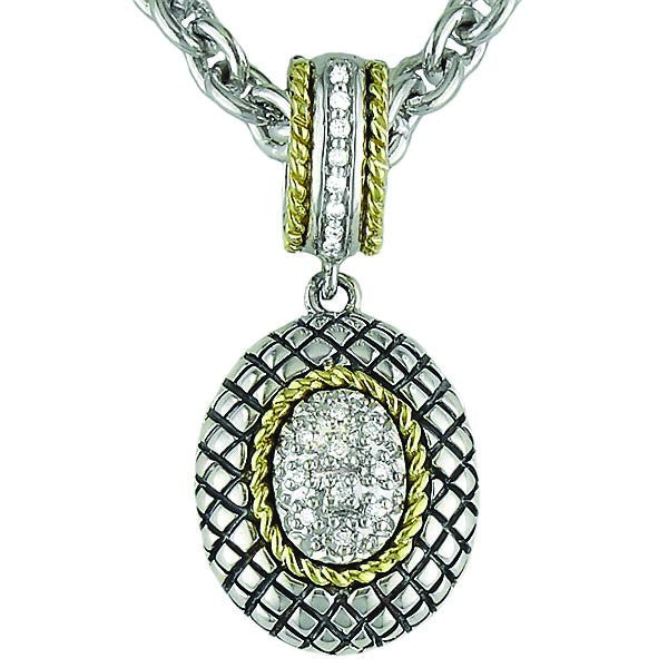 Sterling & 18K Diamond Pendant