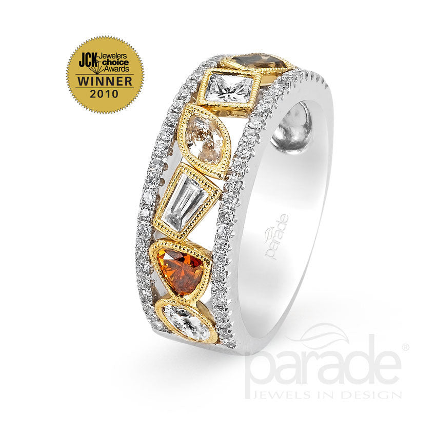 Two Tone Fancy Color Diamond Band